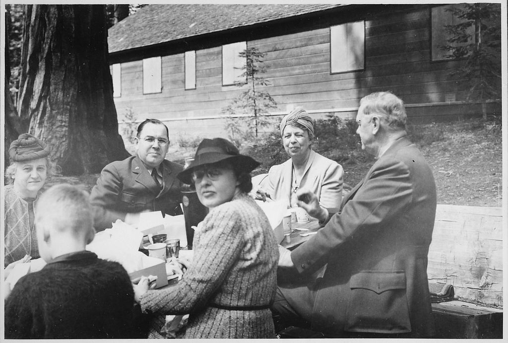 First Lady Eleanor Roosevelt visits a Conservation Corp camp at Yosemite National Parks