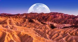 Death Valley National Park Badlands Sandstones Landscape and the Moon