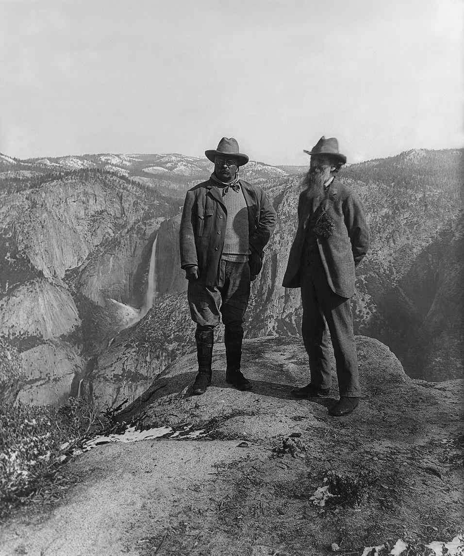 Teddy Roosevelt and John Muir at Yosemite, the first of our National Parks