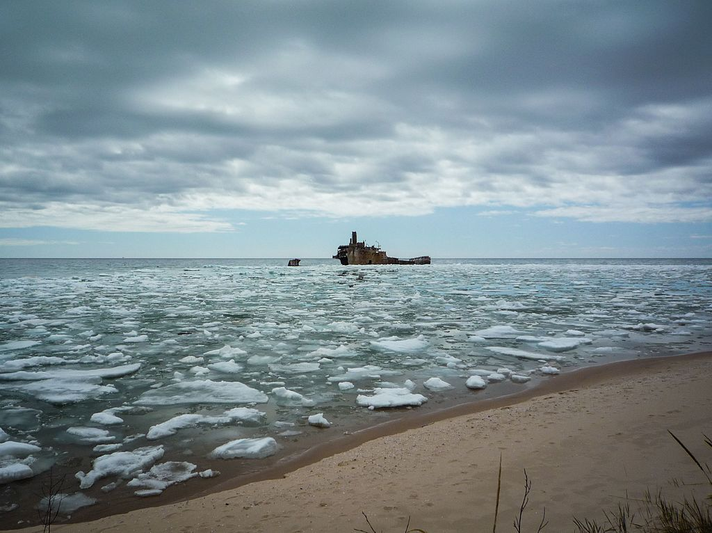 Shipwreck water park Francisco Morazan wreckage in Lake Michigan.