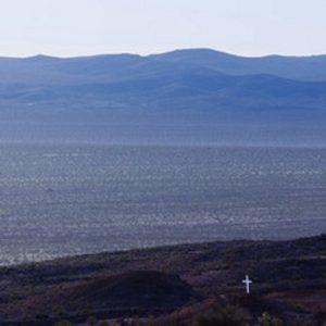 Mojave Desert white cross grave monument at Mojave National Preserve