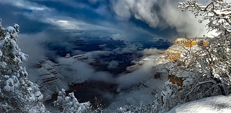 Snow at the Grand Canyon. Winter is not the best time to visit the Grand Canyon.