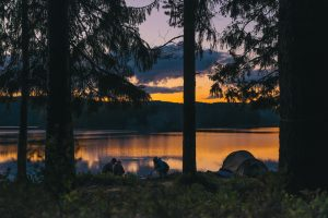 campsite near a lake