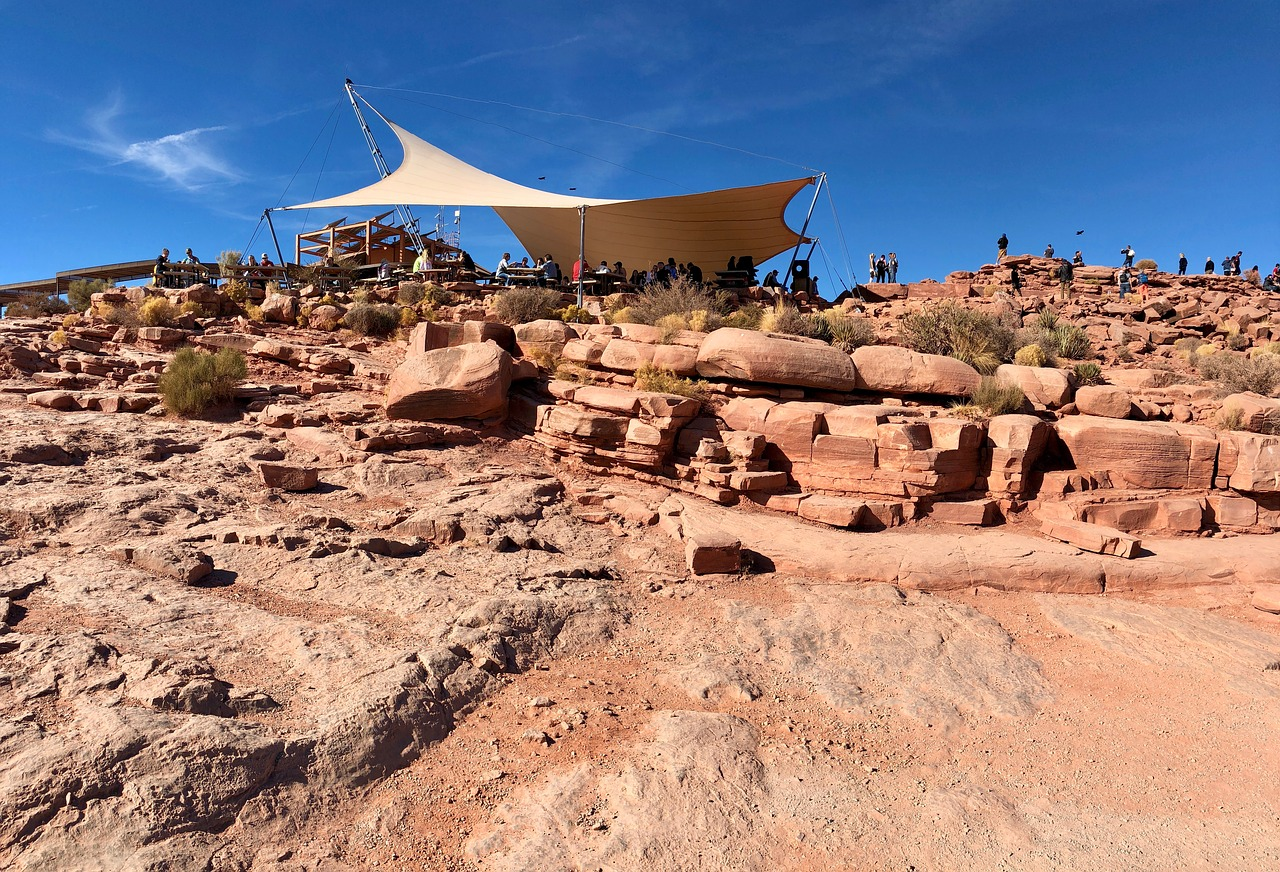 Tarp shading many visitors to the Grand Canyon. Summer may not be the best time to visit the Grand Canyon