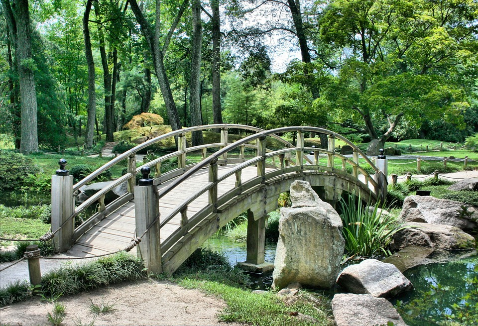 bridge japanese garden arch park at woodward park