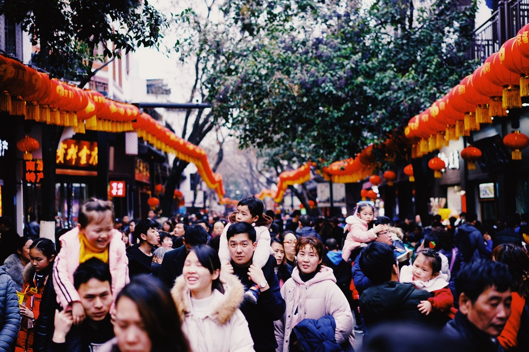 people celebrating feast at the street