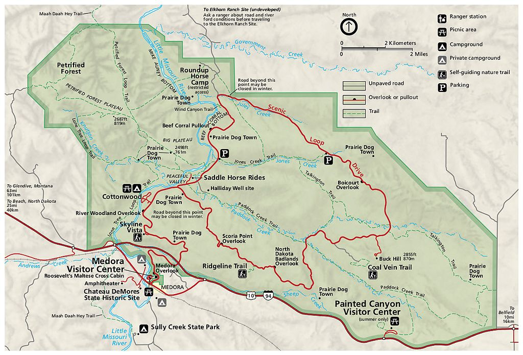 Theodore Roosevelt National Park South Unit map.